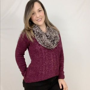 Hooded Cropped Burgundy Sweater